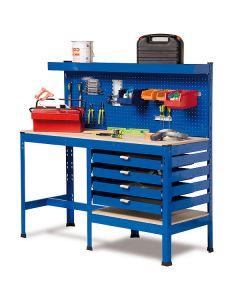 Banco de trabajo con cajones y panel de herramientas