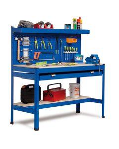 Banco de trabajo con panel de herramientas y cajón largo