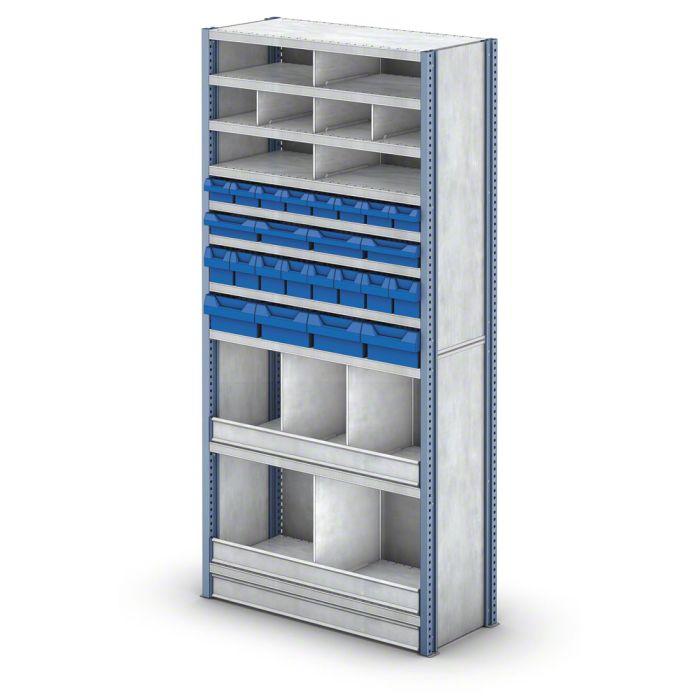 estantería M3 con retenedores de nivel