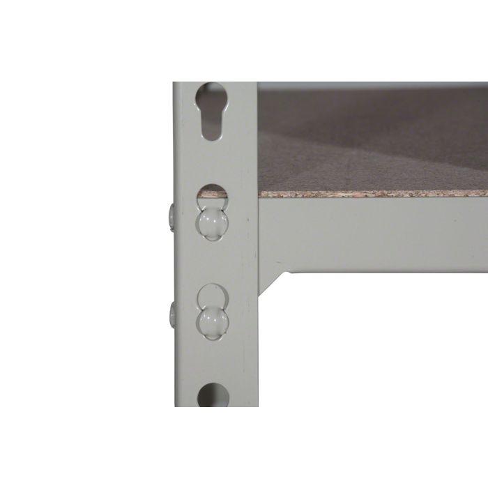 Detalle sistema sin tornillos nivel estantería Metal Point 2 gris
